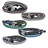 Wrist Zoology - Charming Animal Themed Metal and Glass Bead Wrap Bracelet