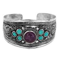 Bright Splendor - Stones in Swirling Silvery Cuff Bracelet