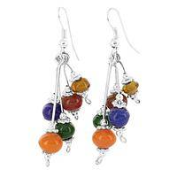 Joyful Vibe - Recycled Glass and Sterling Silver Beaded Dangle Earrings