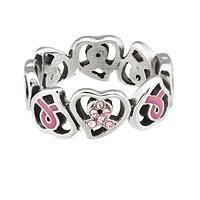 With Hope in Your Heart - Pink Ribbon Enamel & Sparkling Crystal Stainless Steel Ring