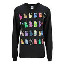 Cat CRAZE - Multi colored cats on a black long sleeve cotton t-shirt