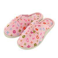 Warm Tootsies - Cute Pink Hearts & Ribbon Slippers