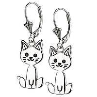 Smiling Kitty - Sterling Silver Feline Dangle Earrings