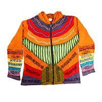 Rainbow Burst - Handmade 100% Cotton Rainbow Sunrise Hooded Jacket