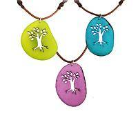 Mother Earth Tree - Colorful Cut-out Tagua Pendant Necklace