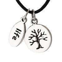 Life Force - Black Cord Necklace with Sterling Tree of Life Charms