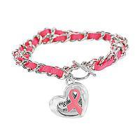 Strong Hearts In Unity - Silver Toned Chained Pink Ribbon Bracelet for Breast Cancer