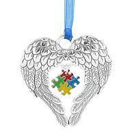 Protective Presence - Ornament With Angel Wings Surrounding Autism Puzzle Piece