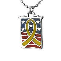Tie a Yellow Ribbon - Until They All Come Home Yellow Ribbon Banner Necklace