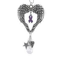 Winged Guardian - Alzheimer's Awareness Angel Wings Car Charm