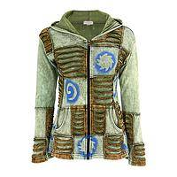 Cosmic Patchwork - Handmade Cotton Jacket With Galactic Star Motifs