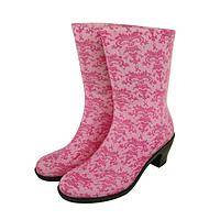 Style Sensation - Damask Pink Ribbon Support Ultra Lite Mid Rise Rain Boots