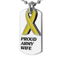 Yellow Ribbon Spouse - Dog Tag Proud Army Wife Yellow Ribbon Necklace