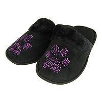 Bedazzled Paws - Sparkly Purple Paw Slippers