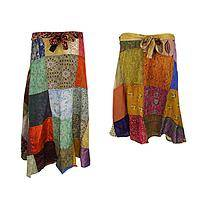 Kaleidoscope of Nepal - Recycled Sari Patchwork Colorful Silk & Rayon Wrap Skirt