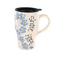 Forget-Me-Not Ribbon - Alzheimer's Awareness Purple Ribbon Travel Mug