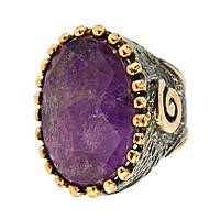 Empress of the East - Spectacular Amethyst and Bronze Ring with Brass Accents