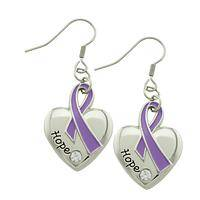 Heart of Hope - Sparkling Purple Alzheimer's Awareness Ribbon Earrings