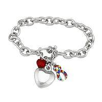 Love, Support, and Awareness - Autism Awareness Silver-Tone Chain Bracelet with Heart Charm