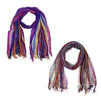 Rainbow Streamers - Versatile Hand-Loomed Acrylic/Cotton Lightweight Scarf