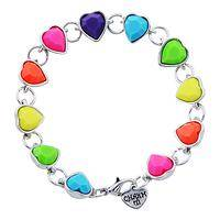 Rainbow of Love - Rainbow colored heart charm bracelet for that special girl