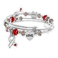 Sparkling Coils - Beaded Metal & Acrylic Diabetes Awareness Coil Bracelet