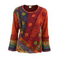 Sunrise Shades - Stonewashed Patchwork Cotton Long-Sleeved Casual Tunic Top