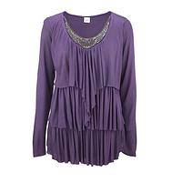 Purple Waterfall - Dusty Violet Embellished Long Sleeved Viscose Tunic