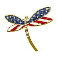 Free Spirit Dragonfly Pin - Fly Free American Flag Deco Dragonfly Pin
