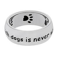 Time Spent With Dogs... - Stainless Steel Dog-Lovers Ring