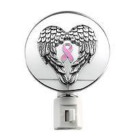 Angelic Illumination - Night Light Featuring Angel Wings and Pink Ribbon Symbol