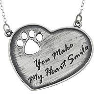 A Smile in My Heart - Paw Print Cut-Out Inscribed You Make My Heart Smile Pendant