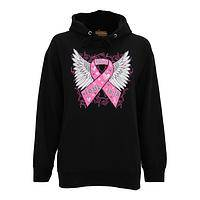 Hope, Love, Faith Lifts You - Pink Ribbon and Angel Wings Sweatshirt