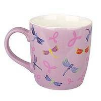 Flickering Wings - Colorful Dragonflies Ceramic Pink Ribbon Grande Mug