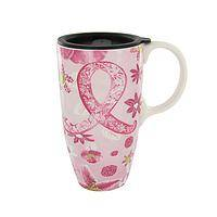 Taking the Fight on the Road - 17 Oz. Ceramic Travel Mug with Pink Ribbon Design