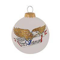 Proud to be a Veteran - Hand Painted Golden Winged Eagle on Frosted Glass Ornament