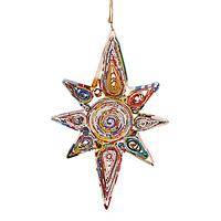 Guiding Star - Recycled Magazine Paper Handmade Star Holiday Ornament