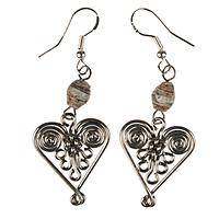 Eco Hearts - Recycled Magazine Bead Earrings with Metal Heart Charms