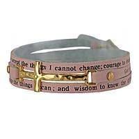 Peace at Hand - Serenity Prayer Faux Leather Wrap Bracelet with Cross Buckle