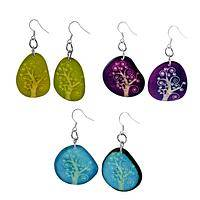 The Spiral Tree - Tree of Life Etched Tagua Nut Earrings