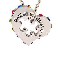 Inspire My Heart - Necklace With Crystal Heart and Inner Puzzle Piece Shape