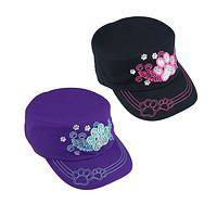 Winged Bling - Paw Print with Angel Wings Rhinestone Military Hat