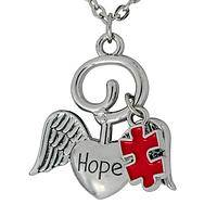 Angel of Hope - Heart of An Angel Autism Puzzle Piece Charm Pendant