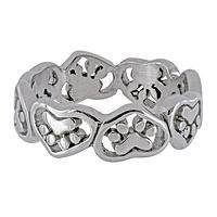 Linked Hearts & Paws - Hearts and Paws Stainless Steel Ring