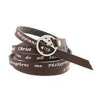 Indomitable Spirit  - I Can Do All Philippians 4:13 Faux Leather Wrap Bracelet