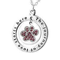 Journey of Love  - Purple Paw Pave Style Silvery Necklace