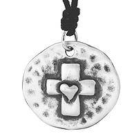 The Heart of the Cross -  Live Simply Pewter Cross Medallion Faith Necklace
