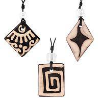 Mythical Mayan - Handcrafted Mayan Symbol Ceramic & Pewter Necklace