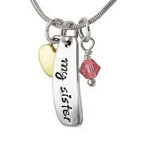 Sisters, Friends - My Sister - My Friend Silver-Plated Pendant Charm Necklace