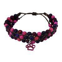 Planting the Seeds of Love - Chirilla Seed and Carved Tagua Purple Paw Rescue Bracelet